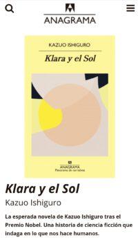 Klara y el sol se vende como cf